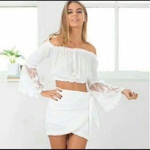 White Boho Crop Top Lace With Bell Sleeves